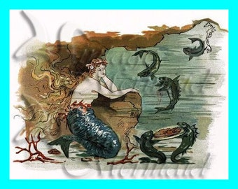 s191 VICTORIAN MERMAID BOOK illustration Quilt Fabric Block Cotton Applique for Quilting Quilts & diy Crafts.