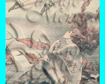 s213 VINTAGE French Mermaid Postcard Cotton Mermaid Fabric Block Applique For Quilts.