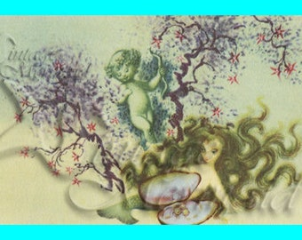 s228 Vintage Mermaid Plaque illustration Cotton Fabric Block Applique for Quilt & Diy Crafts.