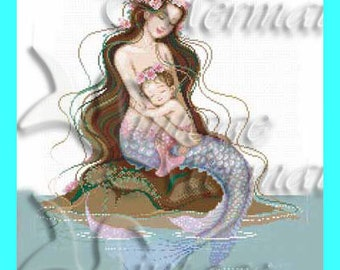 MB23 Mother's Day Card-Fairy Tale-Mermaid & Baby-Cotton Fabric.