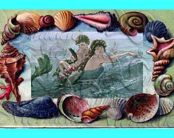 s342 QUILTING BLOCKS Vintage Victorian Mermaids Postcard Cotton Print Fabric Block Applique for Quilting.