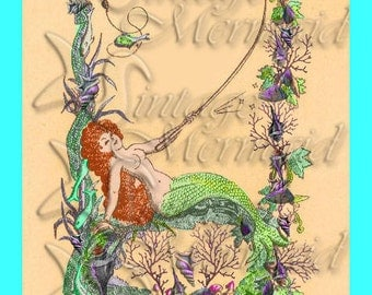 s343 MERMAID FABRIC Vintage Mermaid Print Fabric Block Applique for Quilt.