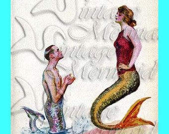 s344 Vintage Pinup Merman & Mermaid Apology illustration Cotton Print Fabric Block Applique for Quilt.