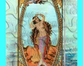 s362 Quilt Fabric SEA GODDESS Mermaid FABRIC Print Quilt Block For Quilting.