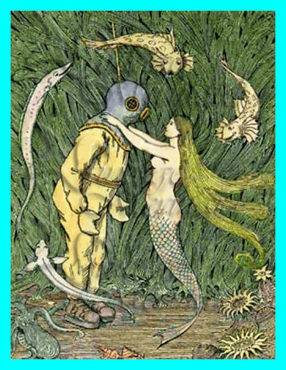 s217 Vintage Mermaid & Diver Postcard Cotton Fabric Block Mermaid Applique For Quilt.