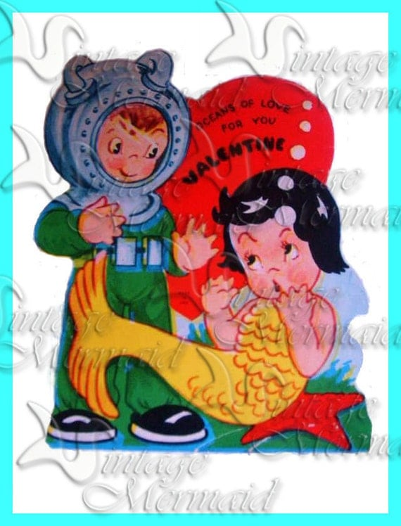 vvmp14 VALENTINE'S DAY FABRIC Vintage Mermaid Postcard Fabric Mermaid Block for Quilting.