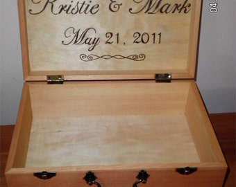 Wood Burned Memory Box with Monogram, Name & Date - Small