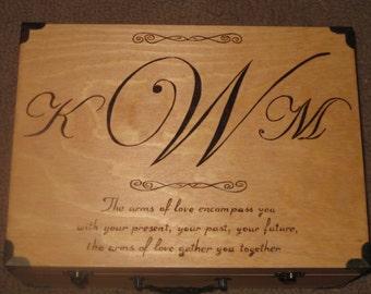 Wood Burned Memory Box with Monogram & Quote - Medium