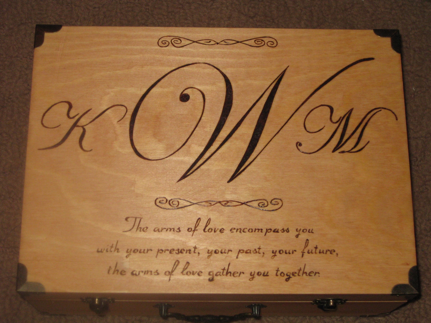 Wood Burned Memory Box With Monogram Amp Quote Large By
