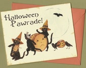 Black Cats Halloween Card, Vintage Style