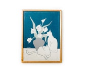 Vintage Marushka Framed Cats and Lilies