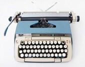 Smith-Corona Galaxie Deluxe Blue Two-Tone Typewriter