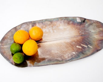 Large Vintage Leaf Silver Serving Platter // Made in India