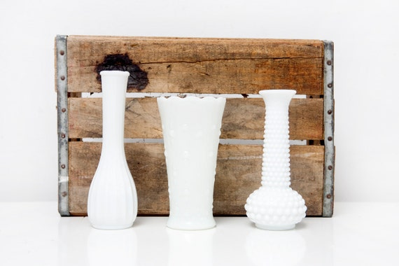 Instant Collection of 3 Milk Glass Vases
