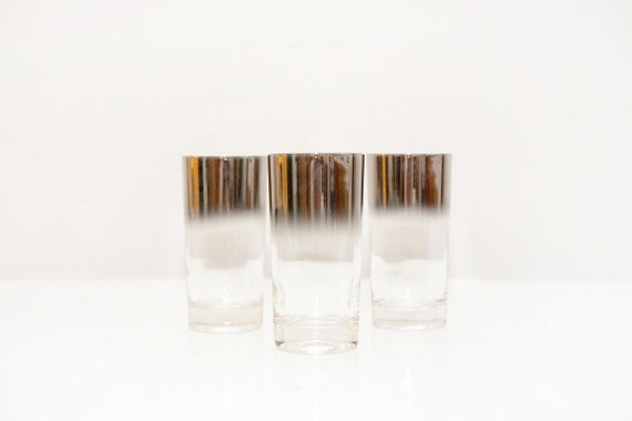 Three Vintage Silver Ombre Highball Glasses