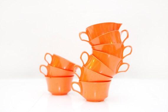 Orange Melamine Tea Cups