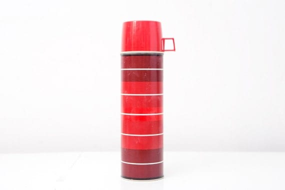 Retro Red Striped Thermos by King-Seeley