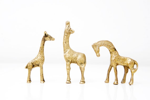 Instant Collection of Three Small Vintage Brass Giraffes