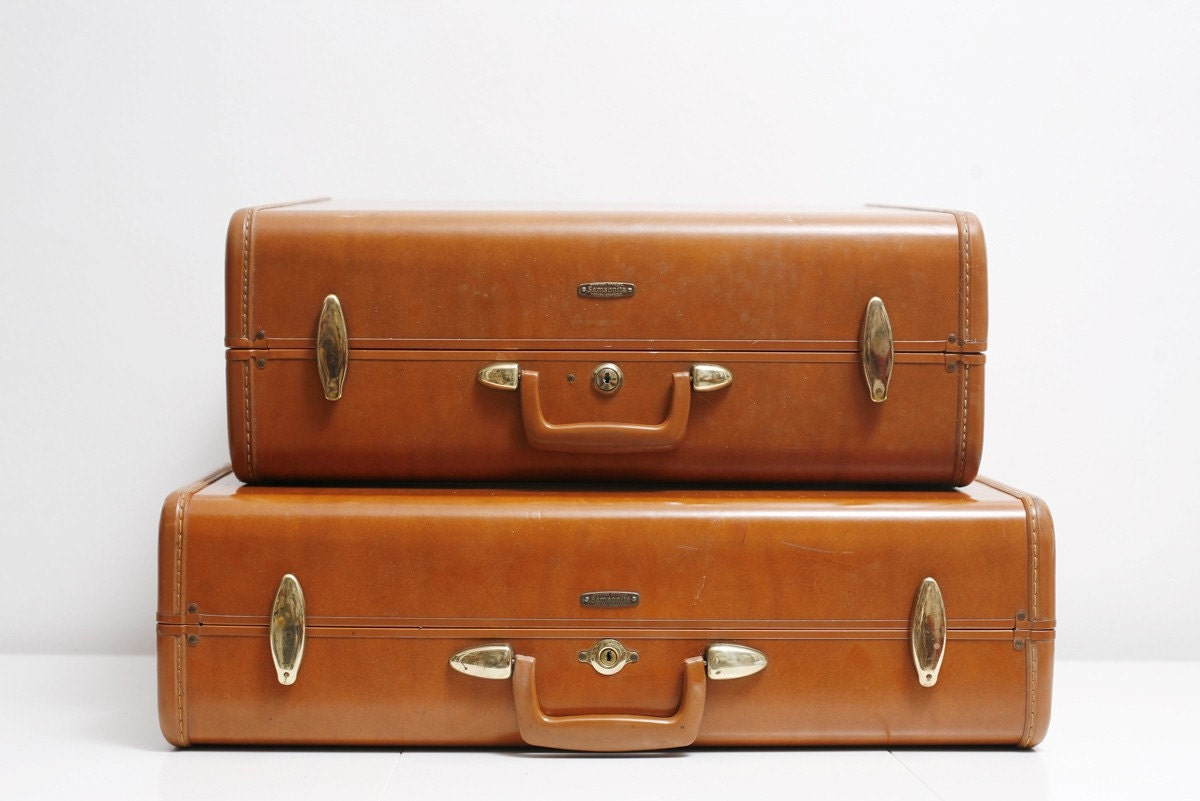 Tan Leather Samsonite Luggage Set