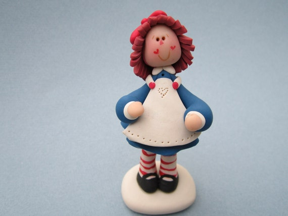 Sale priced....Handcrafted polymer clay Custom Raggedy Anne Figure