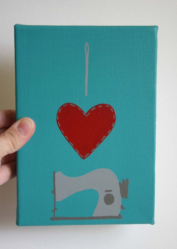 Affordable Original Painting, Wall Art, Home Decor - I heart sewing (5 x 7 Canvas)