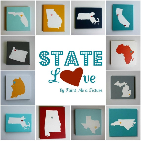 State Love CHOOSE your STATE or COUNTRY - Affordable Original Painting, Wall Art, Home Decor - Made to Order  (8 x 8, 8 x 10 Canvas)