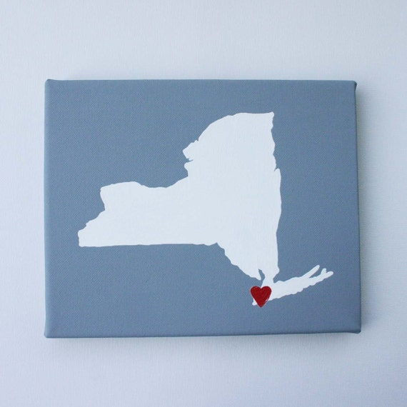 New York State Map, State Love, State Silhouette, Customize - Affordable Original Painting (8 x 10 Canvas)