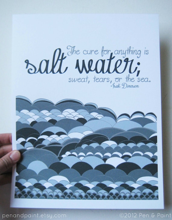 CLEARANCE Navy Blue 8 x 10 Art Print, Salt Water, Beach, Ocean, Sea