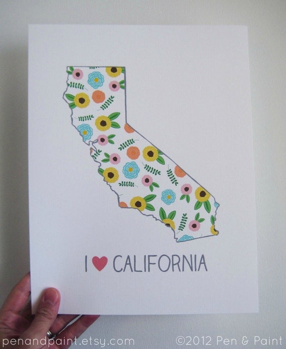 State Love, State Map, Country, Silhouette, 8 x 10 Art Print, I love California