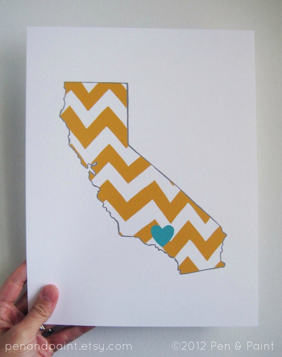 Custom State Print, State Love, State Map, Country, Continent, Nation, Silhouette, 8 x 10 Art Print, I love California, Chevron