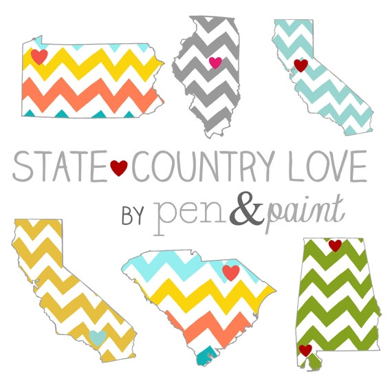 Custom, Personalized State Print, State Love, State Map, Country, Continent, Love Where You Live, Silhouette, 8 x 10 Art Print, Chevron