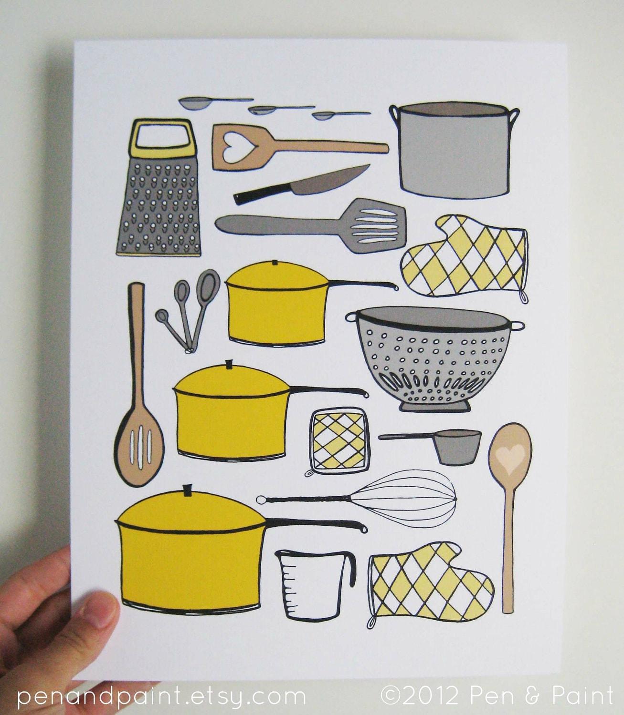 Kitchen Art Prints: CHOOSE Your Color Kitchen Art Kitchen Decor By Penandpaint