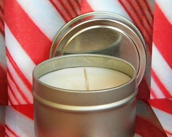 PEPPERMINT HICK Soy Candle - Handmade Peppermint Candles - Essential Oil Candle