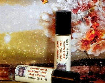AUTUMNS DREAM Sandalwood Perfume Oil - Sandalwood, Amber Musk & Vanilla Cologne Oil