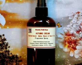 AUTUMNS DREAM Amber Romance Body Spray, Sandalwood, Amber Musk & Vanilla Room and Linen Spray