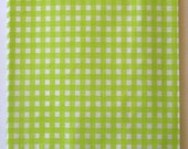 Combo 75 Pack in Three Sizes - White Kraft - Lime Green Gingham Pattern - Holiday Paper Merchandise Bags - 12 x 15, 8.5 x 11 and 6.25 x 9.25