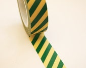Washi Tape - 15mm - Green and Yellow Diagonal Stripe - Deco Paper Tape No. 530