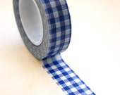 Washi Tape - 15mm - Blue Gingham - Deco Paper Tape No. 80