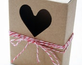 Heavy Kraft Cardboard Boxes set of 24 - Heart Cut Out - Perfect Size for GIfts or Packaging Valentines
