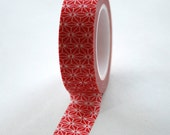 Washi Tape - 15mm - Bright Red and White Geometric Pattern - Deco Paper Tape No. 342