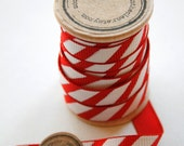 Red and White Candy Cane Striped Grosgrain Ribbon - 5 Yards on Wooden Spool - 3/8 Inch Width