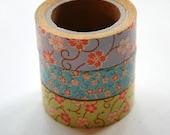 Washi Tape Set - 15mm - Combination X - Florals - Three Rolls Deco Masking Tape 228, 229, 230
