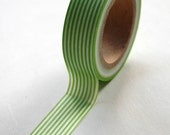 Washi Tape - 15mm - Lime Green Vertical Stripe Pattern - Deco Paper Tape No. 110