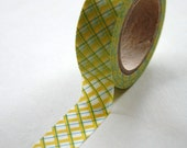 Washi Tape - 15mm - Yellow and Blue Plaid - Deco Paper Tape No. 65