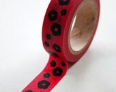 Washi Tape - 15mm - Black Blossoms on Pink - Deco Paper Tape No. 211