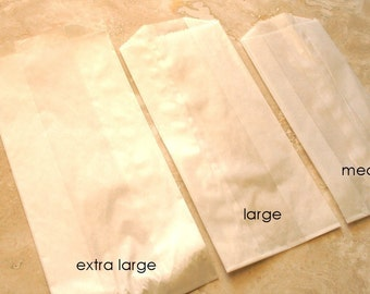 QTY 50 Large Gusseted Glassine Bags - 3 1/2 x 2 1/4 x 7 3/4 Inches - Favors, Treats, FDA Approved for Food Contact