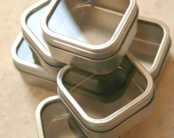 Square Window Tins - set of 10 - 2.5 x 2.5 x 1.5 - 4 Ounces Capacity - Perfect for Spices, Wedding Favors and Retail Packaging