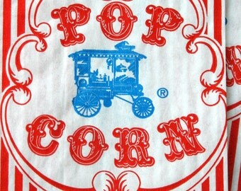Vintage Style Wagon Popcorn Bags - Red and White Stripes - Gusseted 3 1/2 x 2 1/4 x 7 3/4 Inches - set of 400