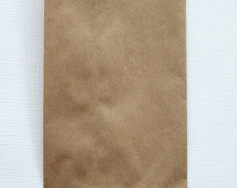 QTY 200 Extra Small Recycled Brown Paper Flat Merchandise Bags - 3 1/4 Inches x 5 1/4 Inches