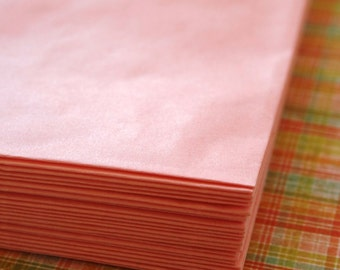 Set of 50 - Petal Pink Flat Paper Merchandise Bags - 6.25 x 9.25 Inches - Gifts, Packaging, Retail